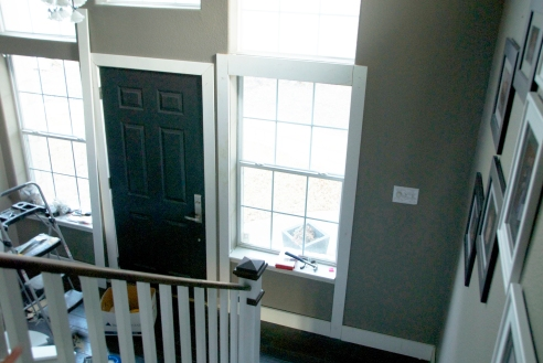 Trimmed windows, door and baseboards