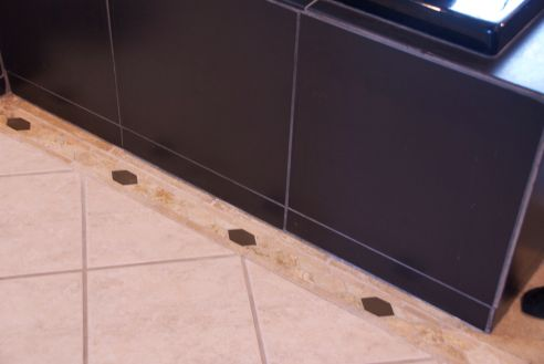 The tile detail on the floor