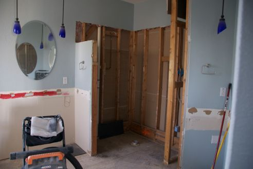 The shower area before