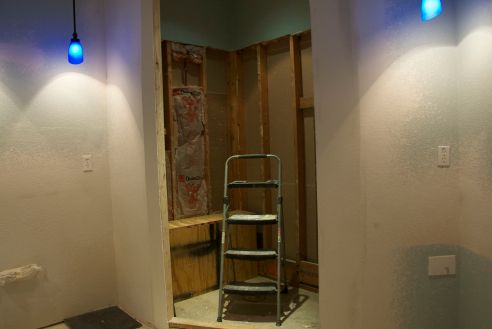 The shower area after sheetrock repair